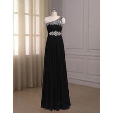 Elegant One Shoulder Sleeveless Floor Length Chiffon Prom Evening Dresses