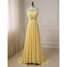 Shimmering Sexy A-Line Long Length Chiffon Prom Evening Dresses with Keyhole Back
