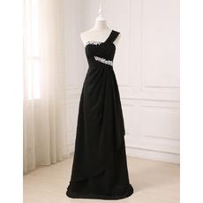 Gorgeous Rhinestone One Shoulder Asymmetrical Waistline Prom Evening Dresses