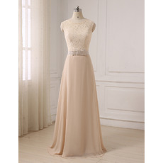 Elegant Sleeveless Full Length Flowing Chiffon Prom Evening Dresses