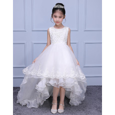 Luxury Beaded Appliques Sleeveless High-Low Asymmetrical Hem Sweep Train Organza Flower Girl Dresses/ Designer White First Commu