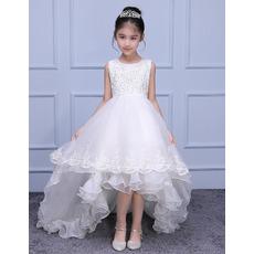 Luxury Beaded Appliques Sleeveless High-Low Asymmetrical Hem Sweep Train Organza Flower Girl Dresses/ Designer White First Commu