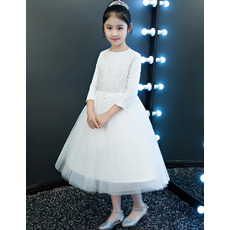 Pretty A-Line Bateau Neck Tea Length Lace Tulle Flower Girl Dresses with 3/4 Length Sleeves