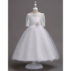 Lovely Ball Gown Beaded Round Neck Lace Tulle White Flower Girl Dresses with Half Sleeves and Hand Made Flower