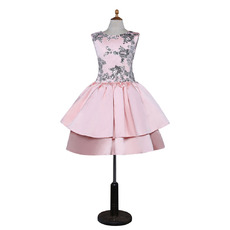 Discount Fashionable A-Line V-back Sleeveless Knee Length Layered Skirt Satin Flower Girl Dresses with Sequined
