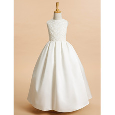 Discount Ball Gown Full Length Satin Embroidery Flower Girl Dresses