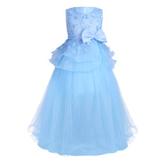 Amazing Sleeveless Full Length Applique Little Girls Party Dresses with Layered Draped High-Low Skirt