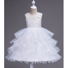 Pretty Knee Length Ruched Tiered Skirt White Organza Flower Girl Dresses with wire edge