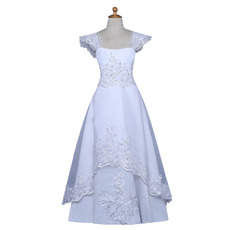 Discount Cap Sleeves Full Length Flower Girl Dresses/ Pretty Beaded Appliques White First Holy Communion Dresses