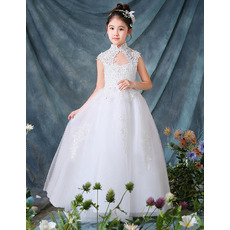 Fashionable Beaded Appliques Mandarin Collar Floor Length Tulle White Flower Girl Dresses with Keyhole Cutout
