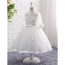 Romantic Beaded Appliques Ball Gown Tea Length White Tulle Flower Girl Dresses with 3/4 Long Sleeves