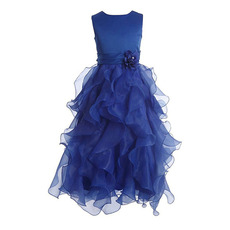 Perfect A-Line Sleeveless Floor Length Ruffles Galore Skirt Organza Flower Girl Dresses with Hand-made Flowers