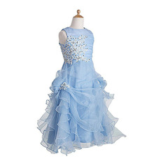 Perfect A-Line Full Length Pick-Up Skirt Organza Flower Girl Dresses with Beaded Appliques