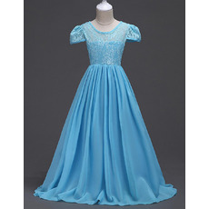 Affordable A-Line Floor Length Chiffon Lace Summer Flower Girl Dress with Short Cap Sleeves