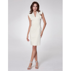Stylish Mandarin Collar Sleeveless Knee Length Satin Party Dresses for Wedding Guest