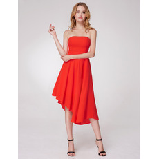 Simple Strapless High Low Asymmetrical Hem Tea Length Chiffon Evening Party Dresses