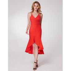 Sexy Classy Spaghetti Straps High Low Asymmetrical Hem Chiffon Evening Party Dresses