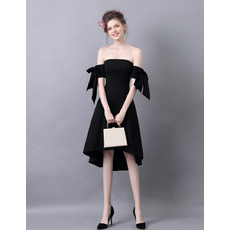 Simple Strapless High-Low Satin Little Black Evening Party Dresses
