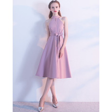 Elegant A-Line Jewel Knee Length Party Dresses for Wedding Guest with Keyhole