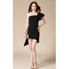Simple Sexy One Shoulder Short Asymmetrical Hem Black Prom Dresses