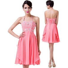 Custom Halter Mini/ Short Chiffon Homecoming/ Cocktail Dresses for Juniors