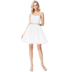 A-Line Strapless Mini/ Short White Homecoming/ Graduation Dresses for Juniors