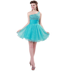 Head-turning One Shoulder Short Organza Homecoming Dresses with Sparkle Beading Embellished