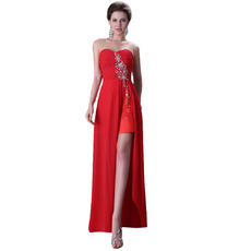 Sexy Sweetheart Floor Length Chiffon Homecoming Dress with Slit for Juniors