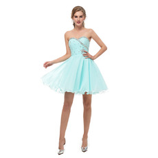 Shimmering Perfect Rhinestone Sweetheart Short Chiffon Homecoming/ Graduation Dresses