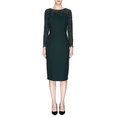 Discount Elegant Bateau Neck Knee Length Mother Dresses with Long Lace Sleeves
