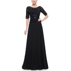 Tailored Elegant Round Neck Lace Chiffon Black Mother Dresses with Half Sleeves