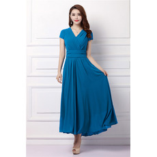 Affordable Flowing V-Neck Tea Length Pleated Chiffon Mother Dresses with Short Sleeves