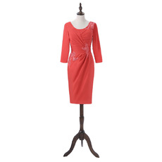 Couture Inexpensive Knee Length Applique Ruching Satin Mother Dress with 3/4 Long Sleeves