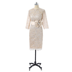 Tailored Column Knee Length Lace Mother Dress with 3/4 Long Sleeves with Belt Bowknot