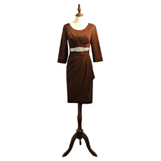 Elegant Knee Length Taffeta Mother Dresses with 3/4 Length Sleeves and Beaded Waist