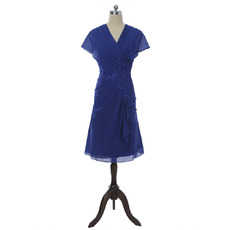 Fashionable V-Neck Knee Length Blue Chiffon Mother Dresses with Cap Sleeves and Cascading Ruffles