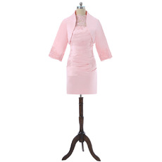 Discount Column Knee Length Ruched Satin Mother Dresses with Jackets and Appliques