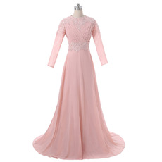 Vintage A-Line Bateau Neck Sweep Train Beaded Appliques Chiffon Mother Dresses with Long Sleeves and Pleated Bust