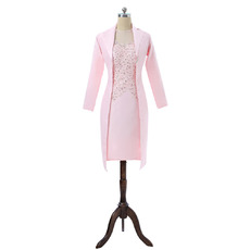 Modest Luxury Sheath Long Sleeves Short Pink Satin Mother Dresses with Jackets and Lace Beaded