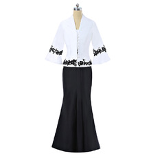 Flattering Black and White Mermaid Cap Sleeves Full Length Satin Mother Dress with Jacket and Appliques