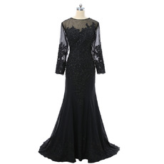 Fashionable Illusion Neckline Sheath Long Appliques Beading Chiffon Tulle Plus Size Mother Dresses with Long Tulle Sleeves