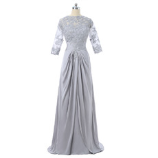 Affordable Beaded Appliques V-back Long Chiffon Mother Dresses with 3/4 Long Illusion Sleeves and Ruching