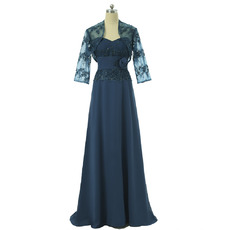 Arrivals Inexpensive Sweetheart Long Chiffon Mother Dresses with Jackets and Appliques Beading