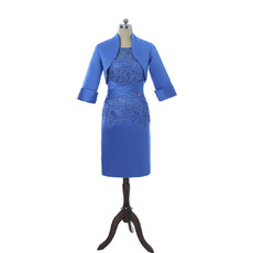 Modest Two Piece Column Knee Length Lace Satin Mother Dresses with Jackets and Ruching Waist