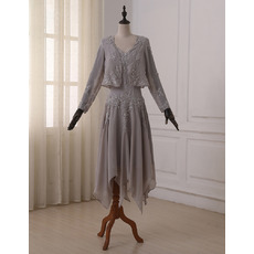 Discount Stunning Sheath Double V-Neck Knee Length Chiffon Mother Dresses with Long Sleeves Jackets