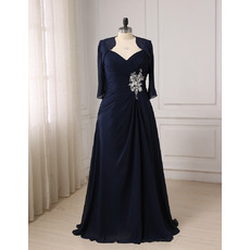 Understated Wide Straps Sweetheart Full Length Navy Blue Plus Size Chiffon Mother Dresses with Jackets and Ruched Bodice