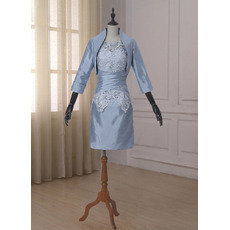 New Arrivals Modest Sheath Short Lace Modest Taffeta Two Piece Mother Dresses with Jackets