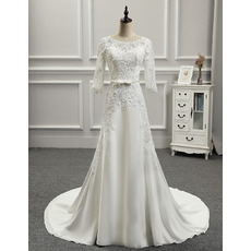 Graceful Illusion Neckline Court Train Chiffon Wedding Dresses with 3/4 Length Sleeves
