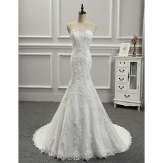 Discount Appliques Beaded Sweetheart Tulle Over Lace Wedding Dresses