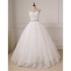 Elegantly Ball Gown Sweetheart Tulle Wedding Dresses with Crystal Beaded Waist